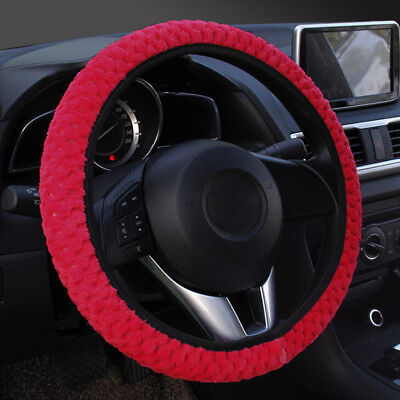 1PC Winter red soft warm plush velvet car steering wheel cover auto car decorFEH