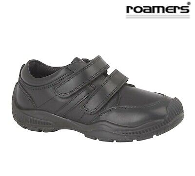 BOYS Smart Touch Fastening Black Leather School Shoes Size 10 11 12 13 1 2 3 4 5