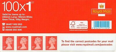 NEW & 100% Genuine 100 1st First Class Stamps Sheets Self Adhesive FV £70