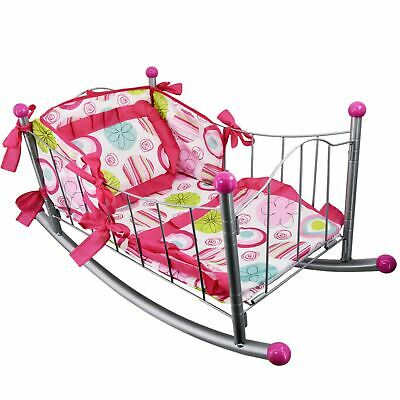 Dolls Rocking Cradle Cot Bed with Pillow Bedding Kids Role Pretend Play, Metal