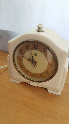 Vintage Bakelite Electric Mantle Clock - Smiths Sectric - Art deco White
