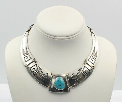 Vintage Sterling Silver Hopi Overlay Turquoise Choker Necklace - Nr #6385-4