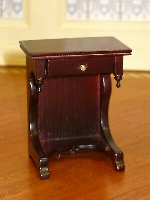 Bespaq Mahogany Side Table with Drawer - Dollhouse Miniature