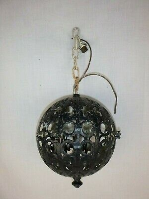 Antique Vintage Lighting Cast Metal Orb Sphere Light Fixtures Ornate Needs TLC