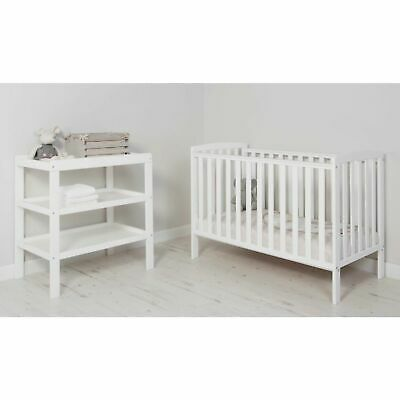 QUALITY Wooden Baby Cot Bed Compact - White Toodler Bed Bedding Crib