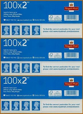 NEW & Genuine 3 x 100 2nd Second Class Stamps Sheets Self Adhesive FV £183