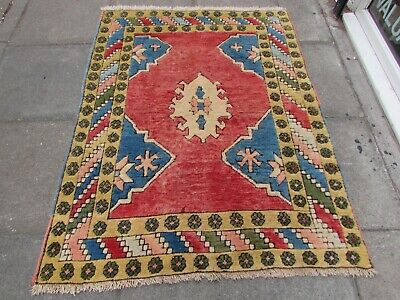 Vintage Traditional Hand Made Turkish Rug Oriental Wool Red Rug 170x132cm