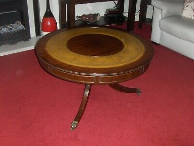 Antique Vintage Wooden Round Drum Mustard Leather Inset CoffeeTable Claw Feet