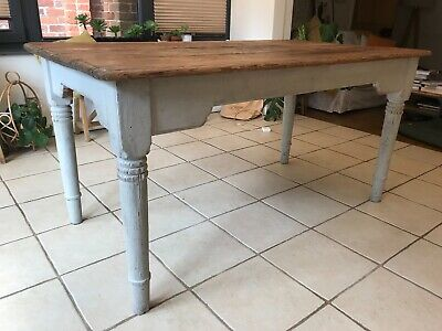 Antique Pine Farmhouse Dining Table With Grey Painted Legs