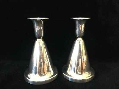Pair T. Marthinsen Norway Horn Shaped 830S Silver Weighted Candlesticks Holders