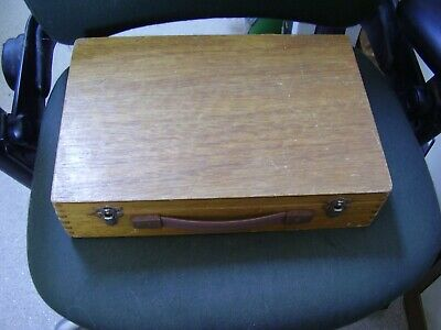 Rare Large Vintage WOOD 70mm Photographic Slide Box Case  with handle