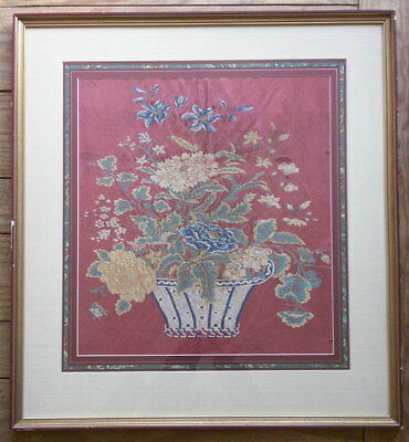 Antique Chinese Export Silk Embroidery, Well Framed