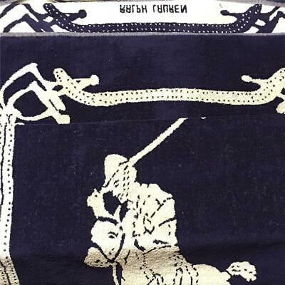 Vtg Ralph Lauren Polo BEACH TOWEL Pony Horse Player 70x36 Horsebit 80's Blue