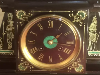 Rare Egyption Revival  Marble Slate And Bronze Sphinx Clock  Circa 1860