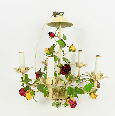 Vintage Hollywood Regency Style Tole Painted Metal Rose Chandelier 5 Candlelight