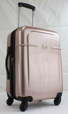 """Delsey Air Quest 20"""" Hardside Spinner Carry On  Suitcase Pink"""