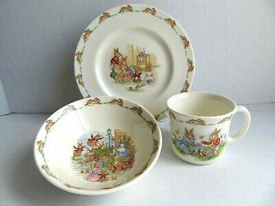 SET OF ROYAL DOULTON FINE BONE CHINA BUNNYKINS CHILD'S CUP, BOWL, and PLATE