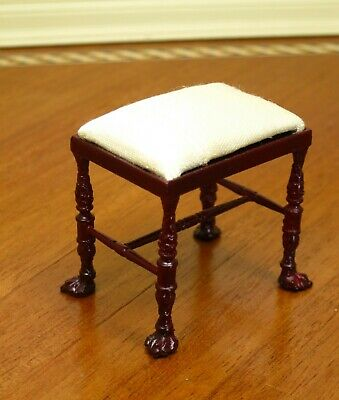 Bespaq Mahogany Stool Ivory Satin Seat Cushion - Dollhouse Miniature