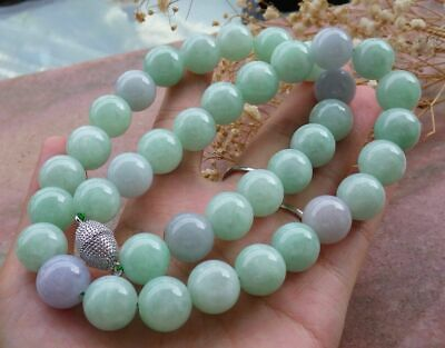 Certified Green Lavender Natural A JADE Jadeite beads Necklace 21 inches 446501