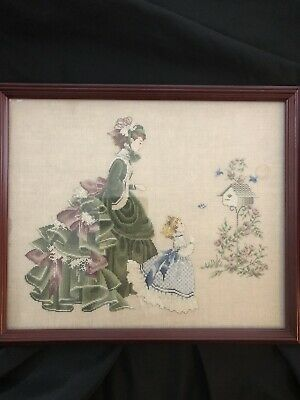Lavender and Lace Cross Stitch Little Wings Completed Framed