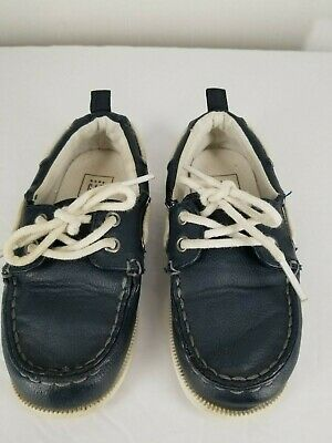 Baby Gap TB Boat Slip On Shoes sz 10 Toddler Boys  Navy Blue Leather White Laces