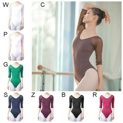 Women 3/4 Sleeve Gymnastics Leotards Ballet Dance Bodysuit Dress Dancewear Tops