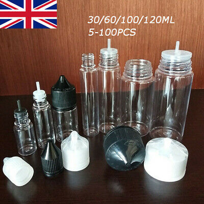 30-120ML PET Clear Liquid Juice Dropper Bottles Containers 5-100pcs UK
