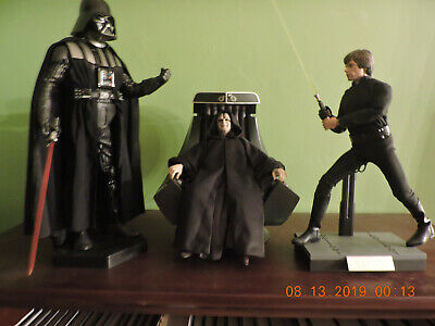 hot toys lot Emperor Palpatine with Chair, Darth Vader and Luke Skywalker Jedi