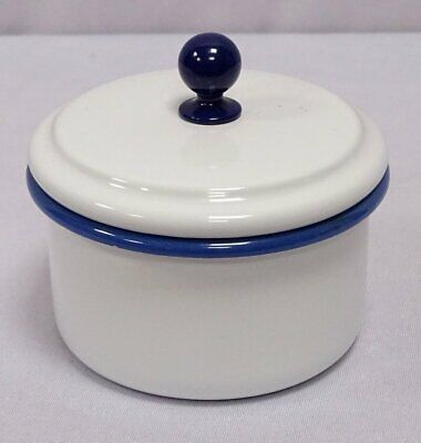 G1706: Enamel Storage Container, Kitchen Container with Lid, White Blue 10 CM
