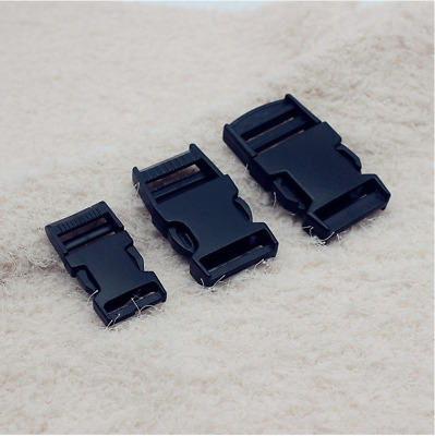 Black Delrin Plastic Side Release Fasteners Squeeze Buckle Clip 20mm - 50mm