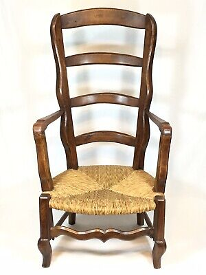 Antique French Ladder Back Chair Rush Cord Seat Country Manner Home Vintage Wood