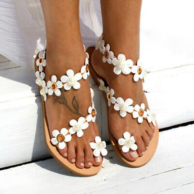 Womens Beach Flower Slip On Flat Sandals Ladies Flip Flops Summer Holiday Shoes