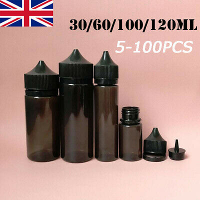 30-120ML 5-100PCS PET Dropper Bottles Liquid Vape Black Plastic Container Cap WC