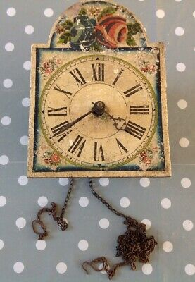 Antique Weight Chiming Wall Clock Hand Painted Face 15x21x10cm