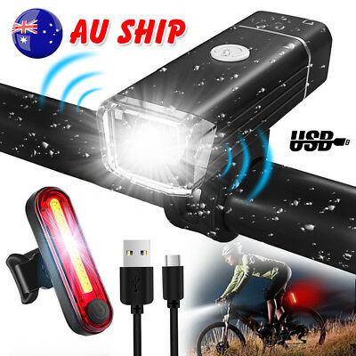 Rechargeable Bicycle Lights USB LED Cycle Bike Front Back Headlight Set