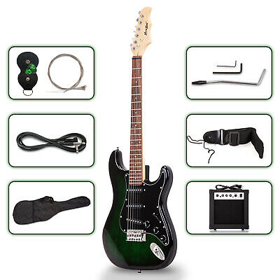 39 Inch Full Size Electric Guitar Green with Amp,Case for Beginner School Band