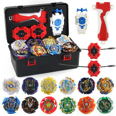 12x GT Gyro Beyblade Burst Set w/ Grip Launcher + Portable Storage Box Case Top