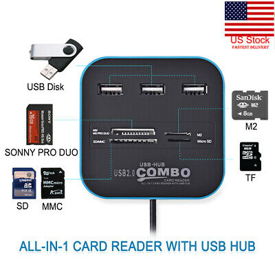3 Ports High Speed USB 2.0 USB Splitter All In One Hub Combo Card Reader USB JL