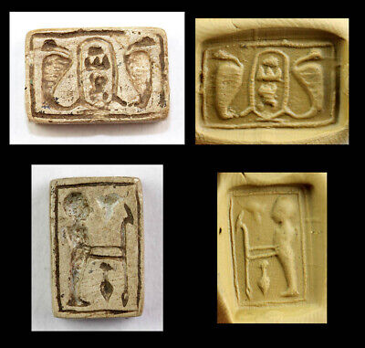 *SC* RARE EGYPTIAN DOUBLE STEATITE STAMP SEAL w. ROYAL CARTOUCHE!