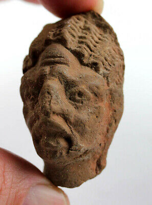 *SC* EGYPTIAN POTTERY HEAD OF NUBIAN w. EXAGGERATED FEATURES, late 1st mill BC