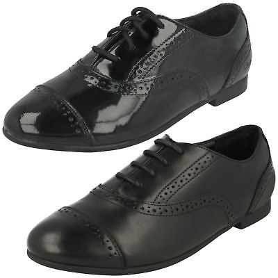 Girls Clarks Brogue Style Lace Up Patent/Leather School Shoes Selsey Cool