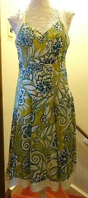 Per Una Long Cotton Print Lined Sleeveless Dress+Full Pleat Skirt Size 16 Bnwot