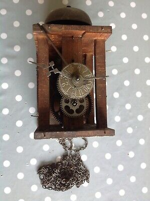 Antique Alarm Wall Clock Movement With Bell Weight Driven To Restore 20x20x12cm
