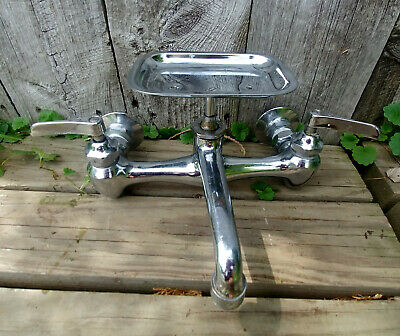 Vintage Nickel Plated Brass Wall Mount Bubble Stream Bath Tub Shower Sink Faucet