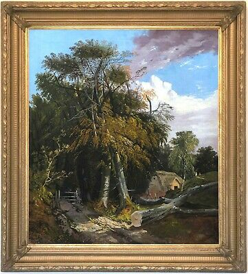 Cottage in a Wooded Landscape Antique Oil Painting 19th Century English School