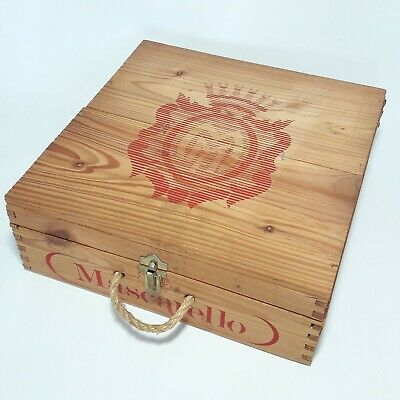 Vintage Wooden Wine Box Mascarello Storage Crate Shabby Chic
