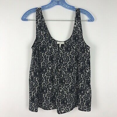 Joie Small Black White Silk Floral Antique Lace Print Sleeveless Blouse