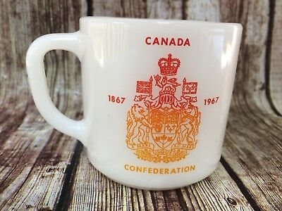 Federal Milk Glass Canada Centennial 1867 1967 Coffee Cup 100 Years Double Sided