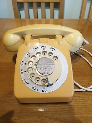 Vintage 1970's GPO 706L Rotary Dial Telephone - Converted (2 Tone Yellow)