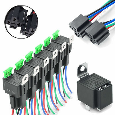 6X 4Pin Fuse Relay Switch Harness Set 12V DC SPST Automotive Auto Relay S+